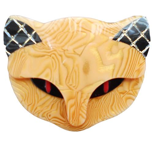 Ochre Bacchus the Cat Lea Stein Brooch
